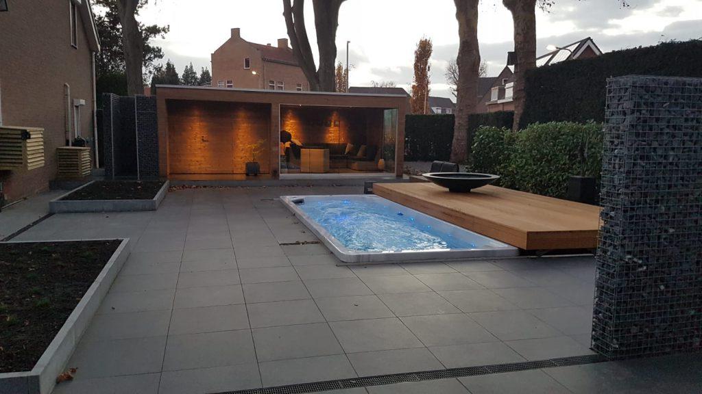 spa de nage sous terrasse mobile