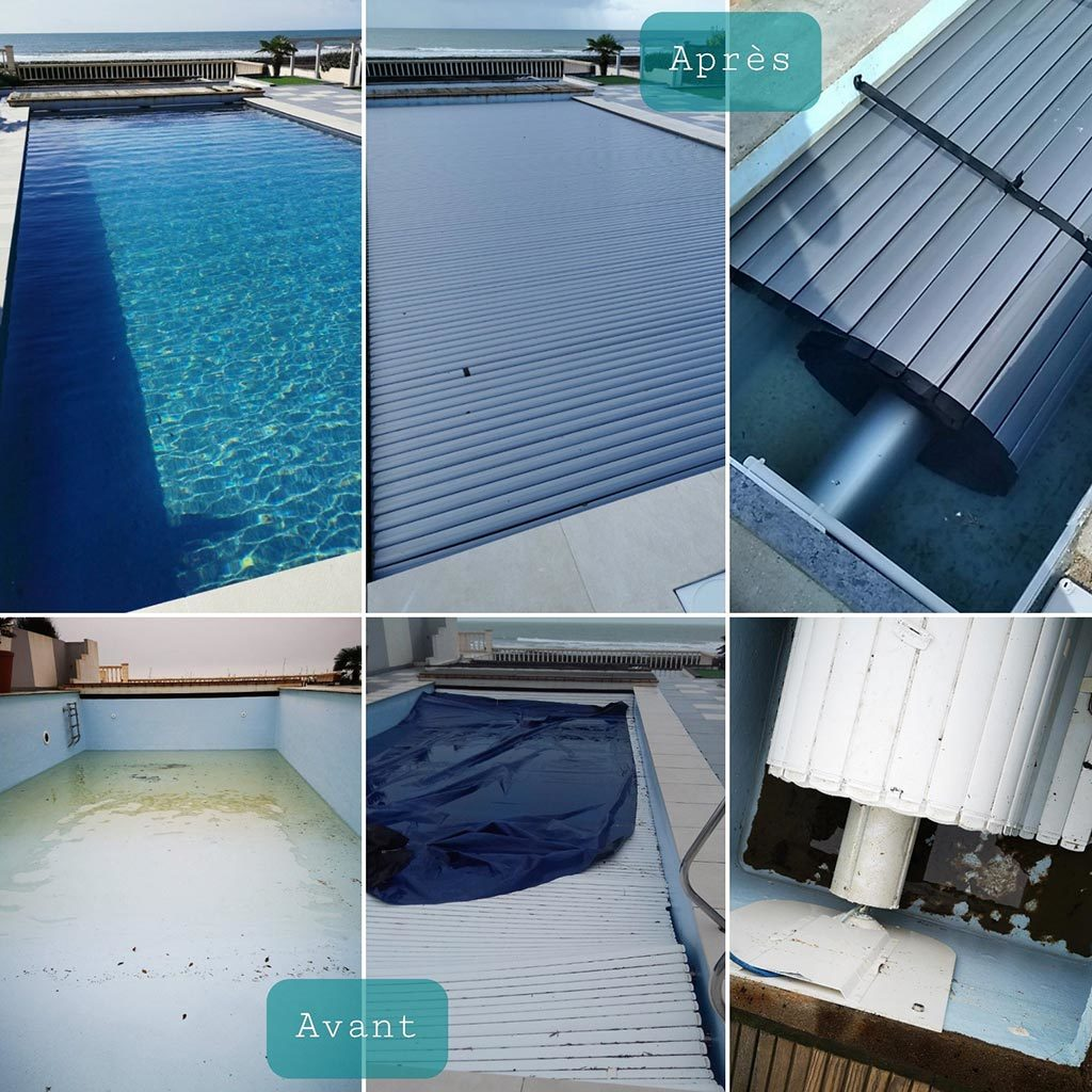 Rénovation d'une piscine de 1974 conçue en béton et polyester.