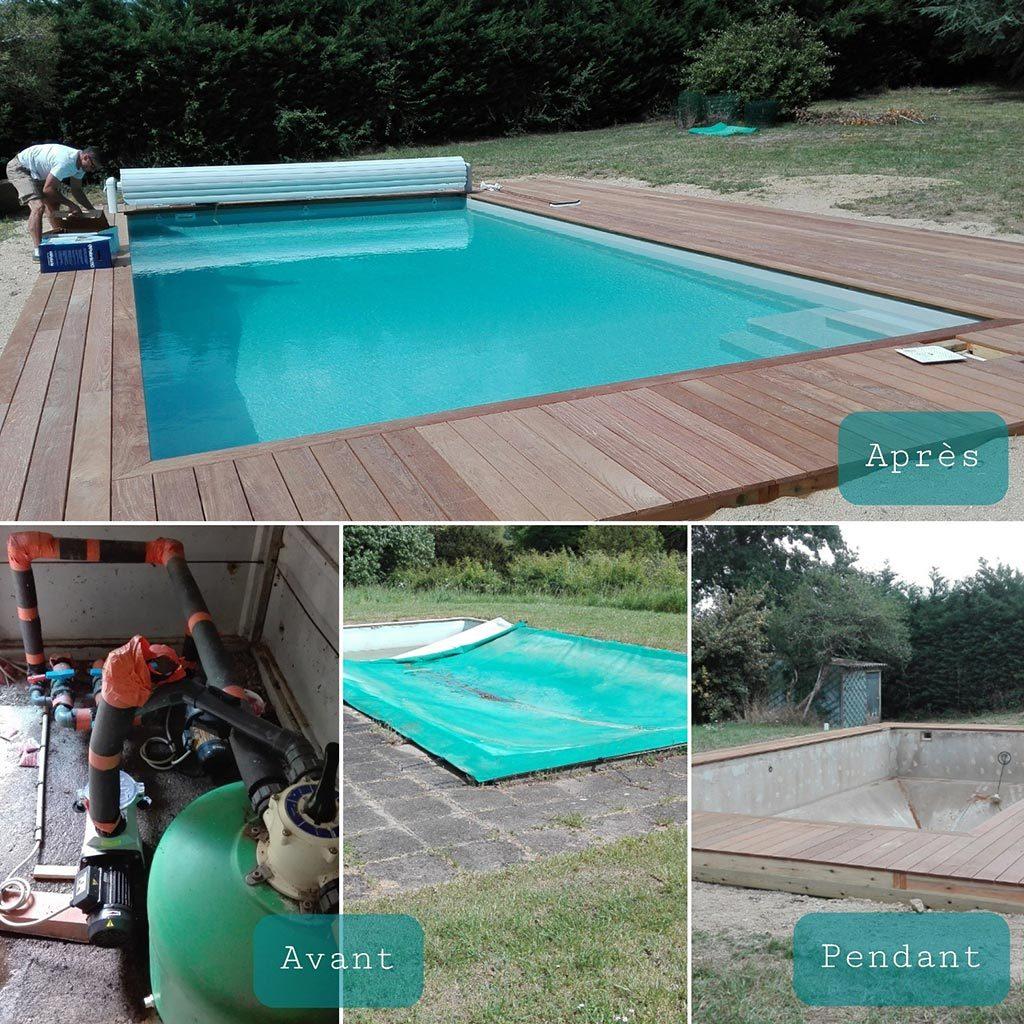 Rénovation d'une piscine de 1970 en agglo creux