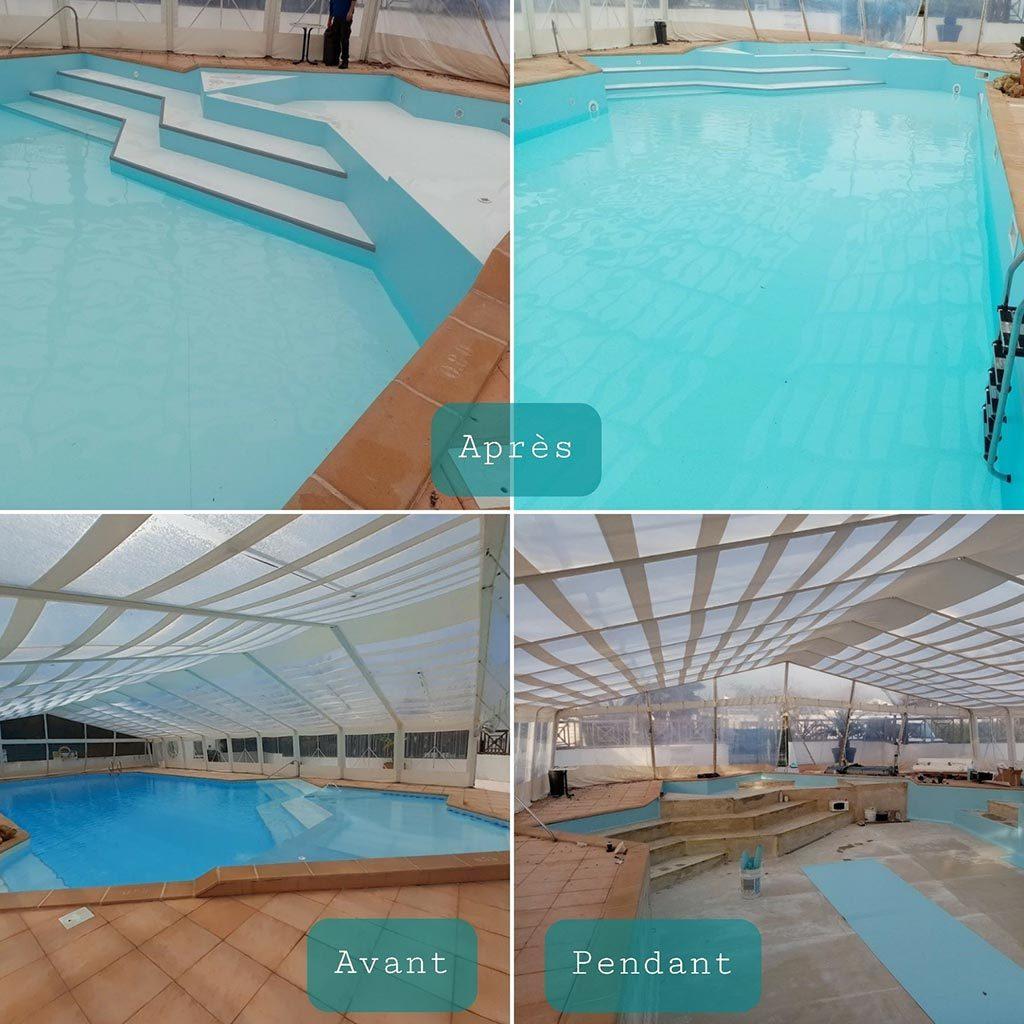 Rénovation d'une piscine de 130m², comprenant dépose d'une membrane défectueuse